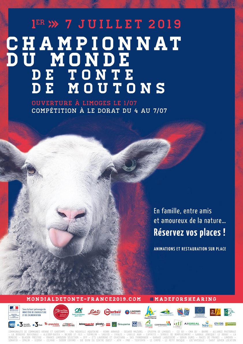 L'affiche du championnat du monde de tonte de mouton 2019 en France